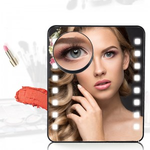 Lighted Makeup Mirror with 10X Magnification Suction Cup Pocket Mirror, Rectangle, USB and Battery Operated-JC11901