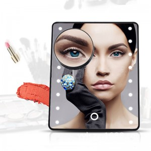 Lighted Makeup Mirror with 10X Magnification Suction Cup Pocket Mirror, Rectangle, USB and Battery Operated-JC11901-1
