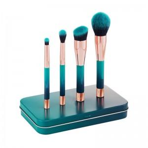 4Pcs Mini Magnet Handle Facial Makeup Beauty Brush Sets With Tin Box-JC14008
