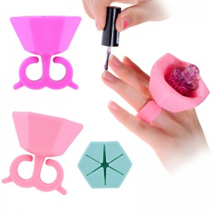 Wearable Silicone Rubber Soft Nail Polish Bottle Holder Ring-JC44001-2